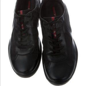 Authentic Prada Black Leather Sneakers Sz 6